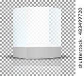 vector ad  empty glass showcase ... | Shutterstock .eps vector #483499720