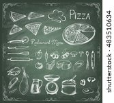 pizza on the green blackboard.... | Shutterstock .eps vector #483510634