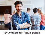 man as successful student in... | Shutterstock . vector #483510886