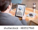 businessman at work. screen... | Shutterstock . vector #483517960