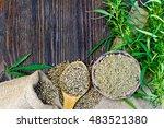 flour in a bowl and hemp seeds... | Shutterstock . vector #483521380