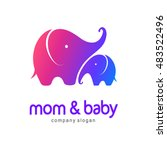 Vector Logo Mother Elephant...