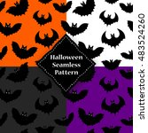 seamless pattern of a black bat ... | Shutterstock .eps vector #483524260
