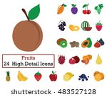 set of 24 fruits icons. flat... | Shutterstock .eps vector #483527128