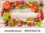 top view on colorful frame made ... | Shutterstock . vector #483536476