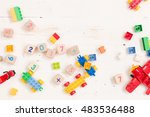 top view on wooden cubes with... | Shutterstock . vector #483536488