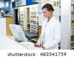 pharmacist making prescription... | Shutterstock . vector #483541759