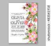 romantic pink peony bouquet...   Shutterstock .eps vector #483541918