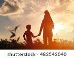 father with son and daughter... | Shutterstock . vector #483543040