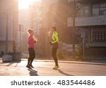 jogging couple warming up and... | Shutterstock . vector #483544486