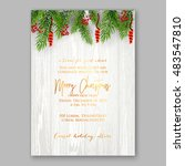 christmas party invitation with ... | Shutterstock .eps vector #483547810