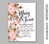 romantic pink peony bouquet... | Shutterstock .eps vector #483548530