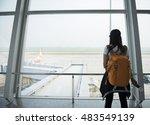 traveler woman tourist at the... | Shutterstock . vector #483549139