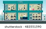 people exercising in the gym...   Shutterstock .eps vector #483551590