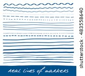 hand lines   real markers.... | Shutterstock .eps vector #483558640