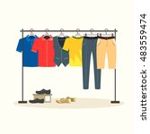 clothes racks with menswear on... | Shutterstock .eps vector #483559474