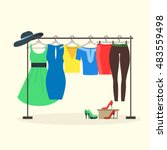 clothes racks with women wear... | Shutterstock .eps vector #483559498