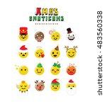 christmas emoticon set | Shutterstock .eps vector #483560338