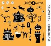halloween flat icons design. | Shutterstock .eps vector #483562480