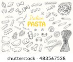 set italian pasta on a white... | Shutterstock .eps vector #483567538