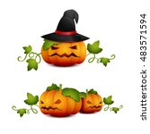 three halloween pumpkin with... | Shutterstock .eps vector #483571594