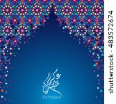 eid mubarak greeting card... | Shutterstock .eps vector #483572674