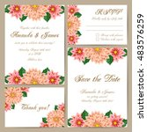 set of wedding cards with... | Shutterstock .eps vector #483576259