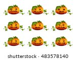 vector set pumpkins for... | Shutterstock .eps vector #483578140