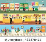 3 floor supermarket  food ... | Shutterstock .eps vector #483578413