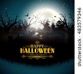 scary pumpkins in gloomy woods  ... | Shutterstock .eps vector #483579346