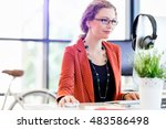 young woman in office | Shutterstock . vector #483586498