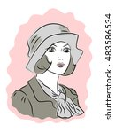 retro fashioned dressed woman... | Shutterstock .eps vector #483586534