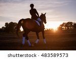 Silhouette Of A Woman Riding A...