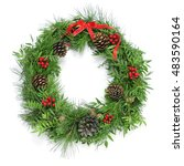 a natural christmas wreath with ... | Shutterstock . vector #483590164
