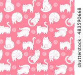 doodle cats seamless pattern.... | Shutterstock .eps vector #483590668