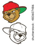 cool brown cartoon hip hop bear ... | Shutterstock .eps vector #483607486