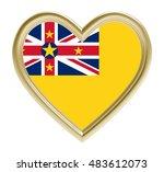 niue flag in golden heart...   Shutterstock . vector #483612073