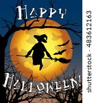 vector happy halloween... | Shutterstock .eps vector #483612163