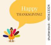 cute colorful cartoon turkey...   Shutterstock .eps vector #483613324