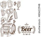 side vertical border with beer... | Shutterstock .eps vector #483622948