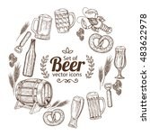 round frame with beer icons.... | Shutterstock .eps vector #483622978