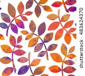 watercolor autumn abstract... | Shutterstock .eps vector #483624370