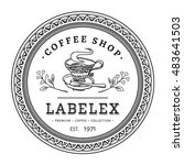 vintage round coffee shop label ... | Shutterstock .eps vector #483641503