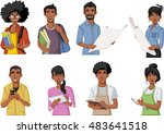 group of cartoon black people.... | Shutterstock .eps vector #483641518