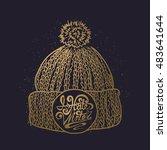 golden knitted cap sketch. hand ...   Shutterstock .eps vector #483641644