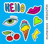 set of fashion patches elements.... | Shutterstock .eps vector #483642934