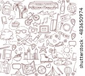 travel and tourism hand drawn...   Shutterstock .eps vector #483650974