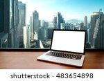 laptop with blank screen on... | Shutterstock . vector #483654898