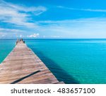 contemplating the sea calm... | Shutterstock . vector #483657100