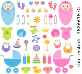 set of baby girl and boy... | Shutterstock .eps vector #483661870